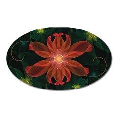 Beautiful Red Passion Flower in a Fractal Jungle Oval Magnet