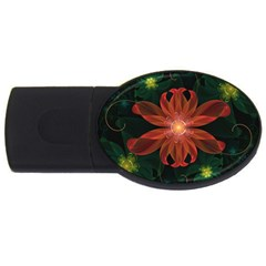 Beautiful Red Passion Flower in a Fractal Jungle USB Flash Drive Oval (1 GB)
