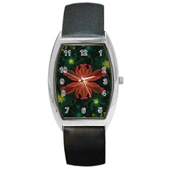 Beautiful Red Passion Flower in a Fractal Jungle Barrel Style Metal Watch
