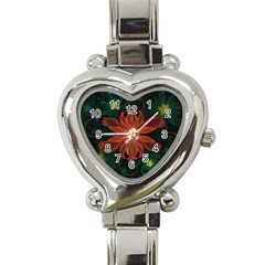 Beautiful Red Passion Flower In A Fractal Jungle Heart Italian Charm Watch