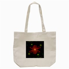 Beautiful Red Passion Flower in a Fractal Jungle Tote Bag (Cream)
