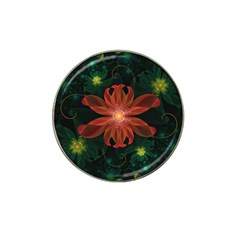 Beautiful Red Passion Flower in a Fractal Jungle Hat Clip Ball Marker (10 pack)