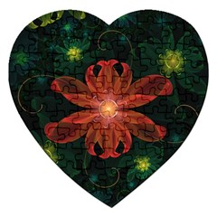Beautiful Red Passion Flower in a Fractal Jungle Jigsaw Puzzle (Heart)
