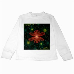 Beautiful Red Passion Flower in a Fractal Jungle Kids Long Sleeve T-Shirts