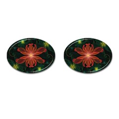 Beautiful Red Passion Flower in a Fractal Jungle Cufflinks (Oval)