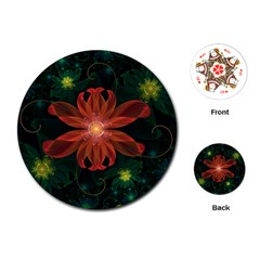 Beautiful Red Passion Flower in a Fractal Jungle Playing Cards (Round)
