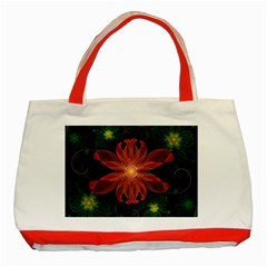 Beautiful Red Passion Flower In A Fractal Jungle Classic Tote Bag (red)