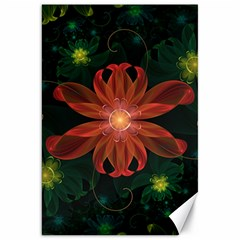 Beautiful Red Passion Flower in a Fractal Jungle Canvas 20  x 30