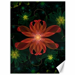 Beautiful Red Passion Flower in a Fractal Jungle Canvas 36  x 48