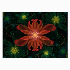 Beautiful Red Passion Flower in a Fractal Jungle Large Glasses Cloth