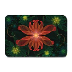 Beautiful Red Passion Flower in a Fractal Jungle Plate Mats