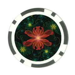 Beautiful Red Passion Flower in a Fractal Jungle Poker Chip Card Guard