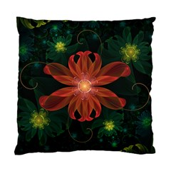 Beautiful Red Passion Flower in a Fractal Jungle Standard Cushion Case (One Side)