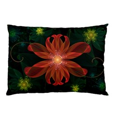 Beautiful Red Passion Flower in a Fractal Jungle Pillow Case