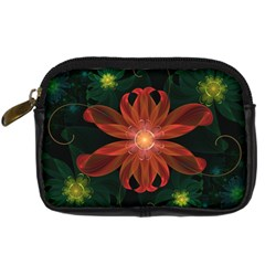 Beautiful Red Passion Flower in a Fractal Jungle Digital Camera Cases