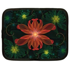Beautiful Red Passion Flower in a Fractal Jungle Netbook Case (XXL)