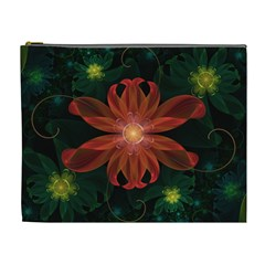 Beautiful Red Passion Flower in a Fractal Jungle Cosmetic Bag (XL)