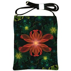Beautiful Red Passion Flower In A Fractal Jungle Shoulder Sling Bags