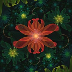 Beautiful Red Passion Flower in a Fractal Jungle Magic Photo Cubes