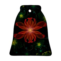Beautiful Red Passion Flower in a Fractal Jungle Ornament (Bell)