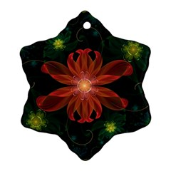 Beautiful Red Passion Flower in a Fractal Jungle Snowflake Ornament (Two Sides)