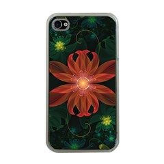 Beautiful Red Passion Flower in a Fractal Jungle Apple iPhone 4 Case (Clear)
