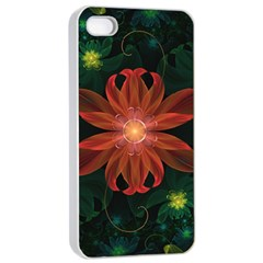 Beautiful Red Passion Flower in a Fractal Jungle Apple iPhone 4/4s Seamless Case (White)