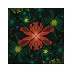 Beautiful Red Passion Flower in a Fractal Jungle Acrylic Tangram Puzzle (6  x 6 )