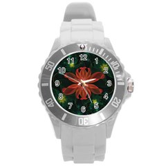 Beautiful Red Passion Flower in a Fractal Jungle Round Plastic Sport Watch (L)