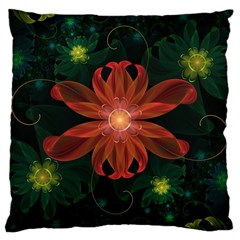 Beautiful Red Passion Flower in a Fractal Jungle Large Cushion Case (One Side)