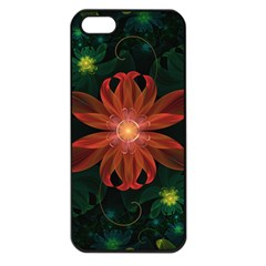 Beautiful Red Passion Flower in a Fractal Jungle Apple iPhone 5 Seamless Case (Black)