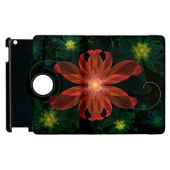 Beautiful Red Passion Flower in a Fractal Jungle Apple iPad 3/4 Flip 360 Case