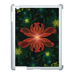 Beautiful Red Passion Flower In A Fractal Jungle Apple Ipad 3/4 Case (white)
