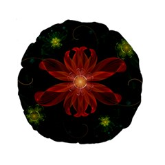 Beautiful Red Passion Flower in a Fractal Jungle Standard 15  Premium Round Cushions