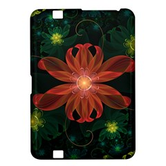 Beautiful Red Passion Flower in a Fractal Jungle Kindle Fire HD 8.9