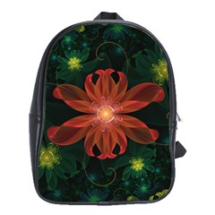 Beautiful Red Passion Flower in a Fractal Jungle School Bags (XL)