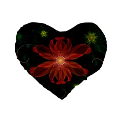 Beautiful Red Passion Flower in a Fractal Jungle Standard 16  Premium Heart Shape Cushions
