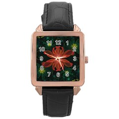 Beautiful Red Passion Flower in a Fractal Jungle Rose Gold Leather Watch