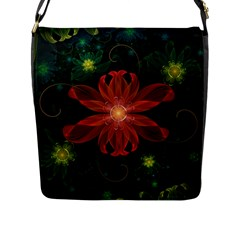 Beautiful Red Passion Flower in a Fractal Jungle Flap Messenger Bag (L)