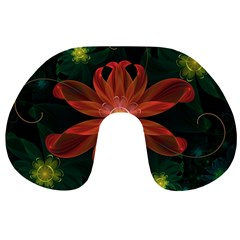 Beautiful Red Passion Flower in a Fractal Jungle Travel Neck Pillows