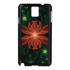 Beautiful Red Passion Flower in a Fractal Jungle Samsung Galaxy Note 3 N9005 Case (Black)