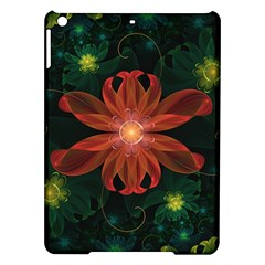 Beautiful Red Passion Flower in a Fractal Jungle iPad Air Hardshell Cases
