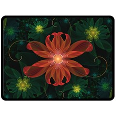 Beautiful Red Passion Flower in a Fractal Jungle Double Sided Fleece Blanket (Large)