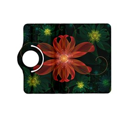 Beautiful Red Passion Flower in a Fractal Jungle Kindle Fire HD (2013) Flip 360 Case