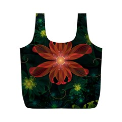 Beautiful Red Passion Flower in a Fractal Jungle Full Print Recycle Bags (M)