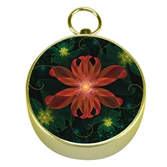 Beautiful Red Passion Flower In A Fractal Jungle Gold Compasses