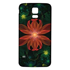 Beautiful Red Passion Flower in a Fractal Jungle Samsung Galaxy S5 Back Case (White)