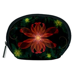 Beautiful Red Passion Flower in a Fractal Jungle Accessory Pouches (Medium)