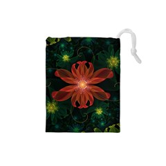 Beautiful Red Passion Flower in a Fractal Jungle Drawstring Pouches (Small)