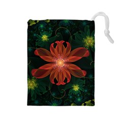 Beautiful Red Passion Flower in a Fractal Jungle Drawstring Pouches (Large)